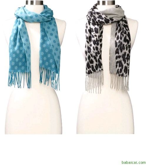 Amazon:Amicale Leopard-Print女士纯山羊绒豹纹围巾$41.85