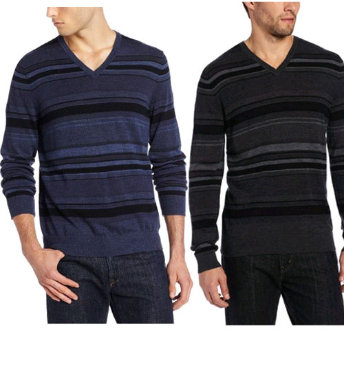 Amazon:Calvin Klein Sportswear Striped VNK-14男款美利奴羊毛运动衫