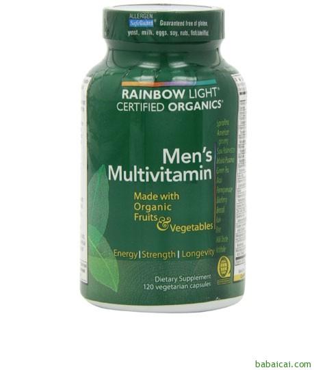 Amazon:Rainbow Light润泊莱天然有机认证男性综合维生素120粒 $18.32