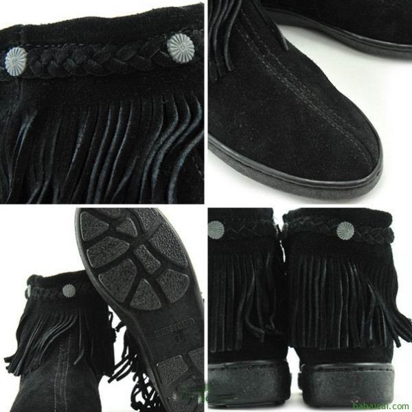 Minnetonka迷你唐卡女士中帮流苏羊皮雪地靴黑色特价$39.07,鞋服8折后$31.2 到手¥280