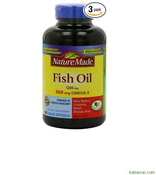 历史低价:Nature Made自然制造 Fish Oil Omega-3 1200mg鱼油