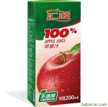 京东商城:汇源 100%苹果汁200ml*24盒 手机端秒杀¥39.9