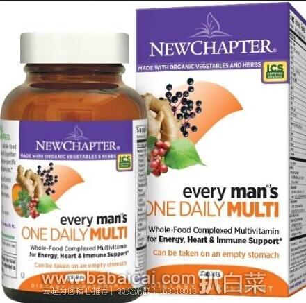亚马逊海外购:New Chapter 新章 40岁以下男性每日一片综合有机营养片72片 现¥205.38,直邮免运费,含税到手¥230