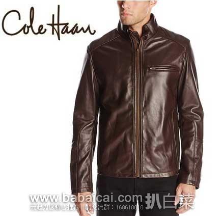 Cole Haan 可汗 男士 100%小羔羊皮机车款 真皮夹克 原价$695, 现历史新低$158.4,直邮免运费,含税到手¥1225