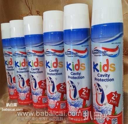 亚马逊海外购:Aquafresh 家护 2岁以上儿童彩虹牙膏130g*6支 特价¥107.89,凑单免费直邮,含税到手¥121,折¥20.2/只