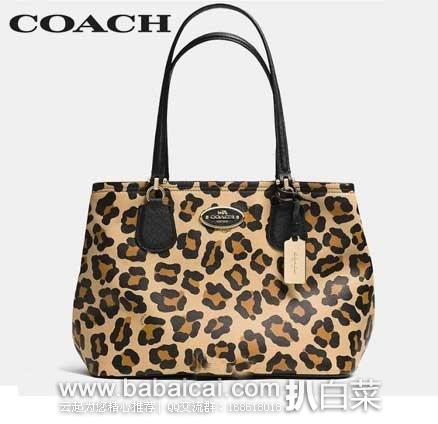 6PM:COACH 蔻驰 女士真皮豹纹印花手提包(原价$495,现售价$204.99),公码9折后$164.99