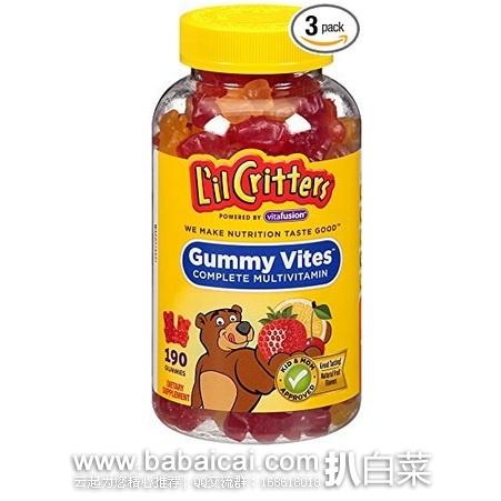 L'il Critters 丽贵 小熊糖 儿童多种维生素软糖190粒*3瓶 原价$40.35,现历史新低$17.16,直邮含税到手仅¥75/瓶