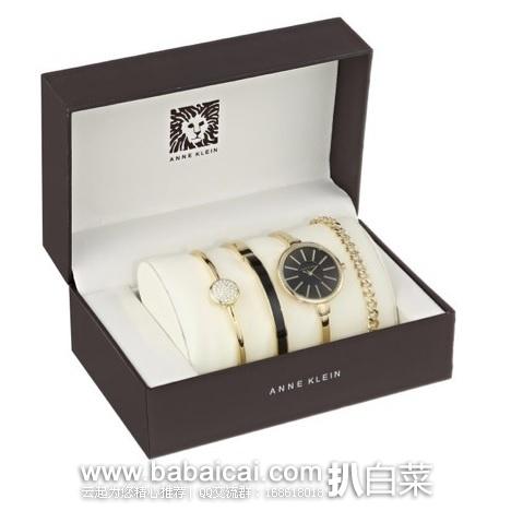亚马逊海外购:ANNE KLEIN 安妮.克莱恩 AK/1470 时尚金色手表+36颗的施华洛世奇水晶手镯+手链组合 现¥315.76,直邮免运费,含税到手约¥366.05
