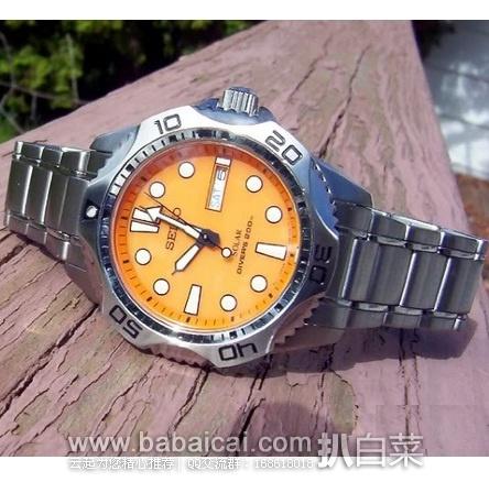 Seiko 精工 SNE109 橙色水鬼太阳能潜水表 原价$335,现好价$137.95,直邮含税到手¥1065