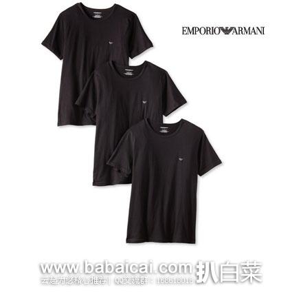 Emporio Armani 安普里奥·阿玛尼 男士100%柔软纯棉圆领短袖T恤3件装 原价$49,现$34.3,网络星期一7折$24.01, 直邮含税到手约¥75/件