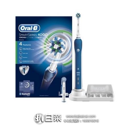 亚马逊海外购:Oral-B 欧乐-B 4000型 D29 3D电动牙刷 可接蓝牙 含2个刷头 特价¥326.58,直邮免运费,含税到手仅¥365