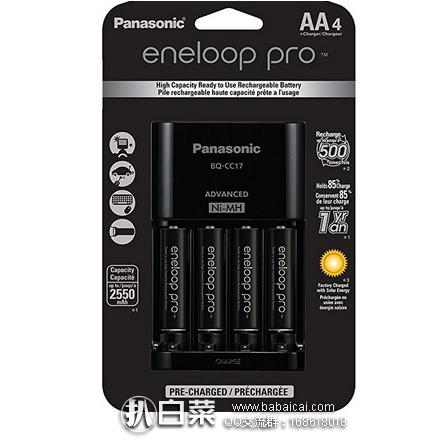Panasonic 松下 eneloop 爱乐普 pro 充电器+4节5号充电电池套装 原价$35,现$23.99,直邮到手约¥177