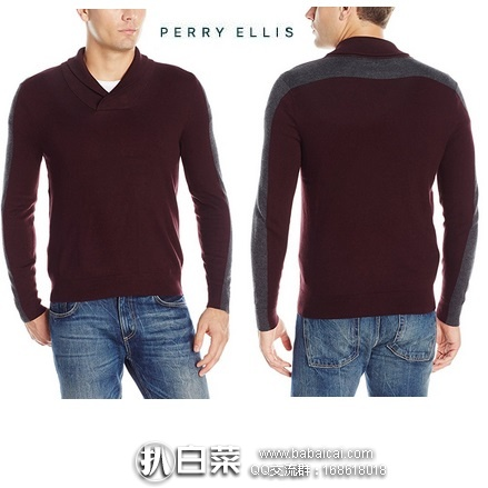 Perry Ellis 派瑞·艾力斯 Pullover 男士 青果领毛衣 原价$70,现$26.52,黑五8折实付$21.22,直邮含税到手约¥218