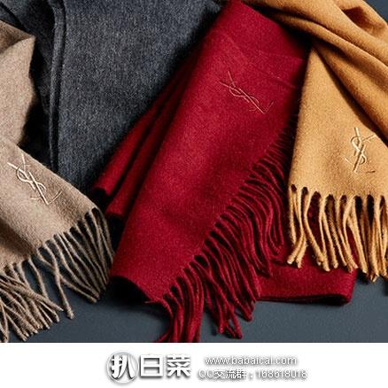 Saksoff5th:Yves Saint Laurent 圣罗兰 意大利产 含羊绒羊毛保暖围巾  折后实付$47.99
