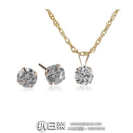 Swarovski 施华洛世奇元素 10K金镶水晶吊坠项链和耳钉首饰套装 特价$26.12,直邮含税到手约¥242