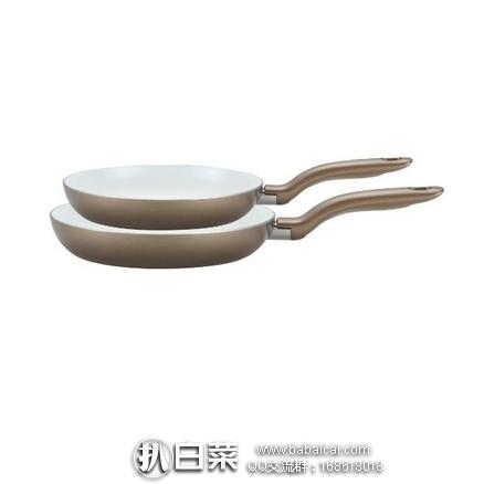 亚马逊海外购:T-fal 特福 土豪金陶瓷不粘锅煎锅套装(20cm+25cm) 特价¥152.79,凑单直邮免运费,含税到手仅¥170