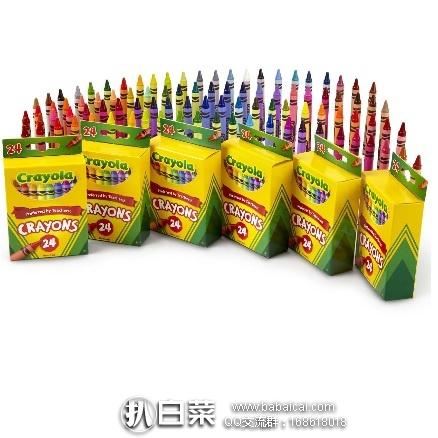 亚马逊海外购:Crayola 绘儿乐 彩色蜡笔套装 24色*6盒 特价¥66.56,凑单直邮免运费,含税到手仅约¥74