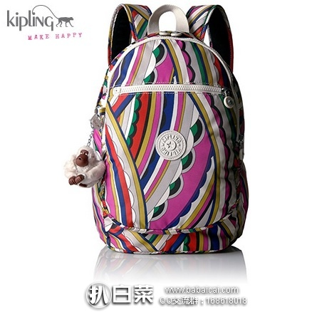 KIPLING 吉普林 Challenger 多功能中号双肩包 原价$104,现$40.09,到手仅约¥345,国内¥1050
