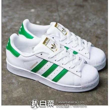 ebay:Adidas 阿迪达斯三叶草 Superstar 男士金标绿条贝壳头绿尾 原价$80,现$40,,第二件半件,两件实付新低$30/双,到手¥265