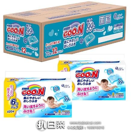 日本亚马逊:GOO.N 大王湿纸巾 70片*12包(840枚片) 补货折后861日元(约¥53)