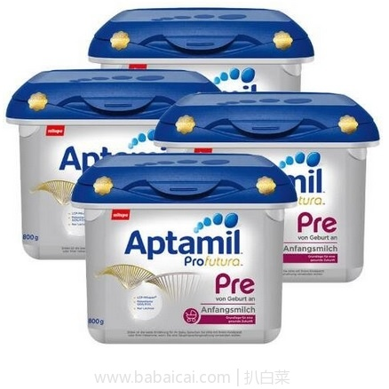 亚马逊海外购:Aptamil 爱他美 白金版 奶粉 Pre段 800g*4盒 现¥704.21,直邮免运费,含税到手¥196/桶