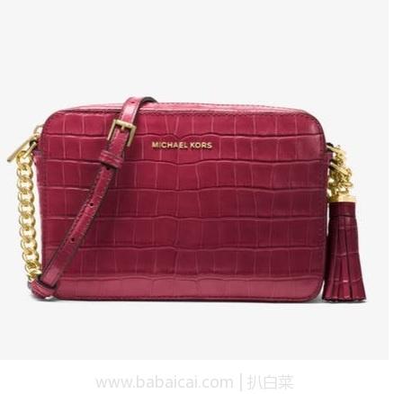 Spring:Michael Michael Kors Ginny 女士真皮流苏单肩包 原价$198,现历史新低$74.25,到手约¥550