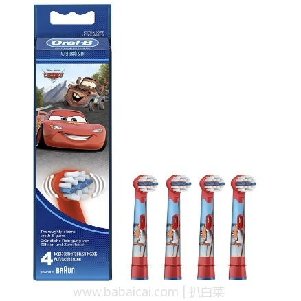 亚马逊海外购:Braun 博朗 Oral-B儿童电动牙刷 替换刷头 4支装 特价¥66.46,凑单直邮免运费,含税到手新低¥74! 仅合¥18.5/支