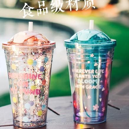 天猫商城:抖音爆款,LOK Tanana ART 星球系列 ins风炫彩双层吸管杯 530ml 2色 送杯刷 现价¥49,领取¥15优惠券 ,实付¥34包邮