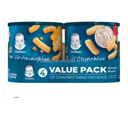 京东海囤全球:美国进口 Gerber 嘉宝 手指泡芙 奶酪味+田园番茄味 42g*4罐 凑单双优惠低至¥59.6/组