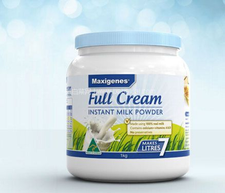 亚马逊海外购:Maxigenes 美可卓(蓝胖子)全脂高钙成人奶粉 1kg/瓶  特价¥99包邮