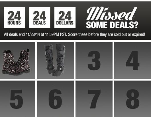 6PM:黑五促销,24小时一口价$24特卖 还有asics、fyre、clarks等低至3折专场 都叠加85折优惠码
