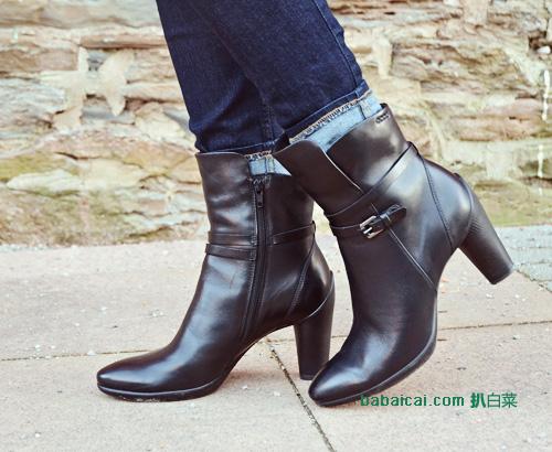 亚马逊海外购:ECCO 爱步 女士雕塑系列45粗跟真皮短靴 现¥559.49,直邮免运,含税到手¥668