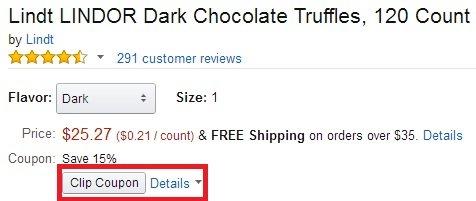 Lindt Lindor瑞士莲松露黑巧克力120粒装,用85折券+S&S购买实付